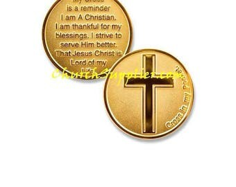 Cross In My Pocket Coin Deluxe 22K Gold Plated Challenge coin