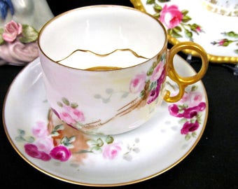 Limoges France mustache tea cup and saucer painted roses pattern teacup moustche