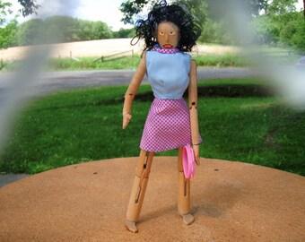 Homemade wooden tamborine player doll