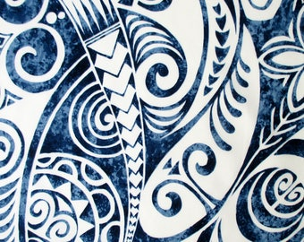 Fabric, Pacific Island Tapa, Blue, Hawaiian Polynesian Tattoo, Wave Curls, By the Yard