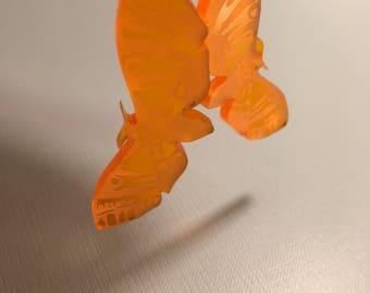 Orange Etched Moth Earrings