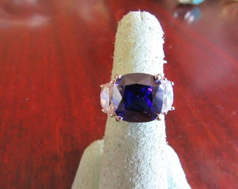 Faux Tanzanite and Faux Diamond Sterling Silver Ring