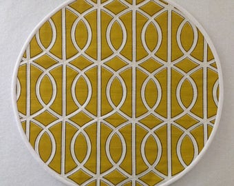 Bold Mustard yellow quilted geometric round placemats.