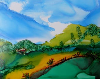 ink Painting landscape original abstract alcohol ink art 5x7 in 8x10 mat # 248
