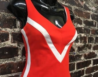 Vintage Pinup Swimsuit. 1960s Rose Marie Reid Red and White One Piece Bathing Suit. 1950s '50s Style Retro Swimwear, Resortwear. VLV Medium.
