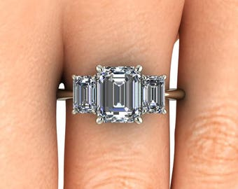 Emerald Cut 3 Stone Engagement Ring, Colorless Forever One or Harro Moissanite in 14k White Gold, Moissanite Engagement Ring