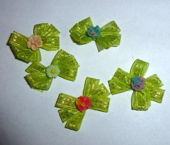 Puppy Bows ~5 green shiny triple loop EVERYDAY BOWS Yorkie Maltese Shih Tzu ~Usa seller (fb81)