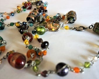 Vintage Murano Necklace / Glass Beaded Necklace /  Murano Necklace/ Beaded Jewelry  /  Murano Beads / Free Domestic Shipping !