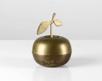 Brass apple dish, 60s brass apple, gold apple dish, gold apple box, brass apple box, brass apple deco