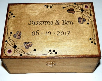 Wedding Box, Wedding Gift, Wooden Box, Personalized Box, Custom Jewelry Box, Engraved Box, Anniversary Gift
