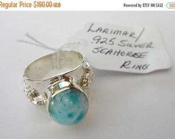 "ENDLESS SUMMER SALE Stunning Genuine Aaa Grade Larimar Men's ""Seahorse"" Ring .925 Sterling Silver  Free U.S. Shipping  U.S. Size 10 3/4"