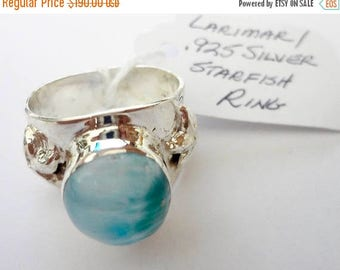 "ENDLESS SUMMER SALE Stunning Genuine Aaa Grade Larimar Men's ""Starfish"" Ring .925 Sterling Silver  Free U.S. Shipping  U.S. Size 11 3/4"