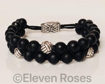 David Yurman Two Row Black Onyx Spiritual Bead Bracelet Adjustable 925 Sterling Silver