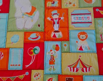 "Circus Quilt / Tummy time Crib / toddler Primary Colors 39"" × 42"""