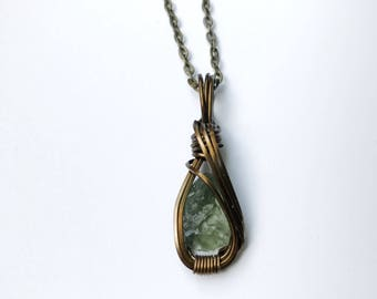 Raw Moldavite Necklace Wire Wrapped Pendant in Copper Wire with Antique Brass Finish