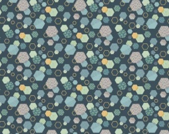 Fossil Hexagon Navy Dinosaurs, Fossil Rim by Deena Rutter for Riley Blake Designs