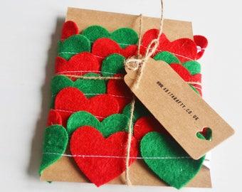 Felt Bunting, Green & Red Hearts, Handmade