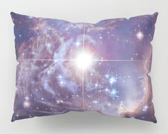 Deep Blue Space Pillow Case - blue and purple galaxy, stars, milky way, planets, outer space,  bedroom decor, art, curate the bedroom