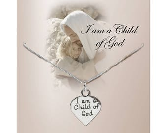 "Sterling Silver ""I am a Child of God"" Heart Charm Necklace a Special with a Gift Box  (COGN-210)"