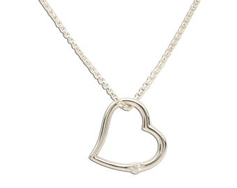 Open Heart White Sapphire Sterling Silver Charm Necklace for Girls with Gift Box (TCN-Open Heart White Sapphire)