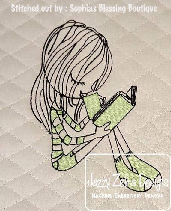 Swirly girl Reading 5 sketch embroidery design - girl embroidery design - reading embroidery design - school embroidery design - book design