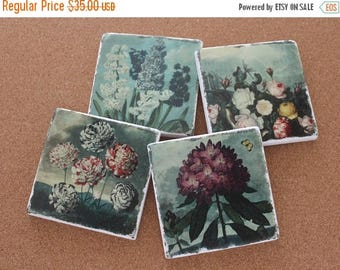 SALE Set of 4 Tumbled Marble Tile Coasters - Vintage Flower Garden