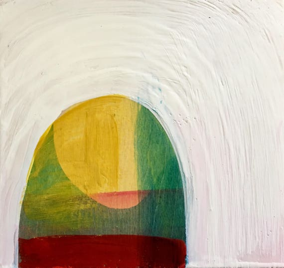 """Begining to See the Light, 8 x8"""" encaustic painting"""
