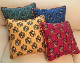 NEW Harry Potter Gryffindor Slytherin Ravenclaw Hufflepuff Accent Pillow In Stock Ready to Ship