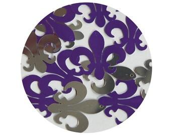 """Sequin Fleur De Lis 1.25"""" Purple Silver Metallic Couture Paillettes. Made in USA."""