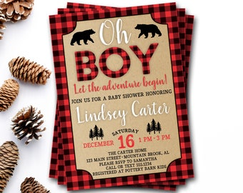 Buffalo Plaid Baby Shower Invitation, Lumberjack Baby Shower Invitation, Bear Baby Shower, Rustic Baby Shower, Rustic Invitation