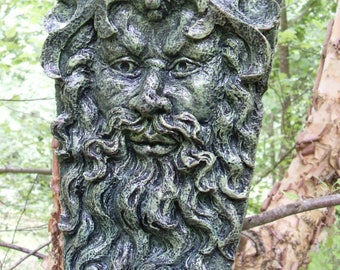 Greenman Statue,Greenman Tree Spirit Statue,Greenman Wall Hanging, Nature Spirit Plaque,Tree Spirit Statue,Garden Decor,Hand Cast Concrete