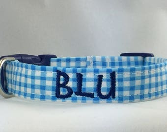 Dog Collar Personalized- Blue & White Checked