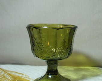 Compote Dish Grape Pattern Harvest Green, Footed Indiana Colony Glass, Olive Compote