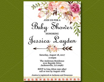 Floral Boho Baby Shower Invitation, Bohemian Invite, You Print, Peach Floral baby shower, Watercolor Printable digital file 021