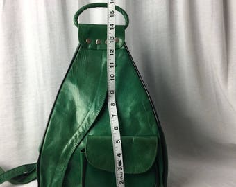 Handcrafted Leather Backpack Purse Green