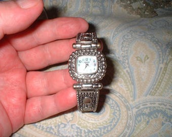 Kessaris Silver Watch Bracelet Bangle locking swing arms with engraved design