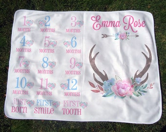 Personalized Monthly Baby Blanket w/ Antlers and Flowers - Girl Deer Growth Chart Blanket - Month Blanket with Milestones - Baby Photo Prop