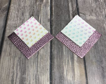 Pink square dangle earrings