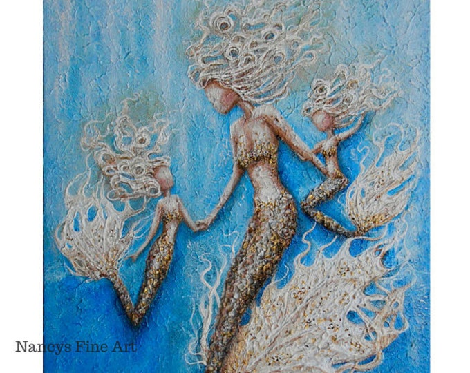 Original mother and daughter mermaid painting on canvas, mermaid family wall art, mom and child mermaids by Nancy Quiaoit.