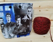 LARGE Doctor Who Ball Sack for up to WORSTED Weight -- Yarn Holder for Inside Project Bags Handmade