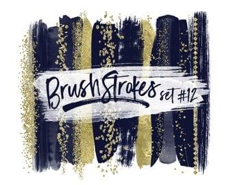 Navy Brush Strokes / Gold Brush Strokes Clipart / Gold Glitter Clipart / Navy and Gold Clip Art / Navy Wedding Clipart / Navy Paint Strokes