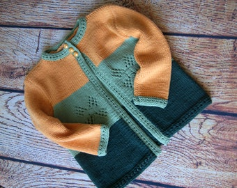 Knit sweater for girl, Toddler sweater Knit, Girls sweater knit, Toddler girl sweater knit, Hand knit sweater girl, Orange sweater green