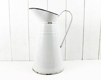 Enamel Pitcher White Vintage, Farmhouse Decorfarmhouse Decor Rustic Country, White Enamel Pitcher, Pitcher Vase Vintage, White Enamelware,