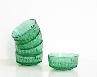 Set of vintage glass bowls by Arcoroc France. Green glass bowls.
