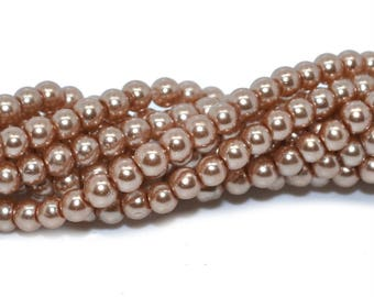 100 beads 3mm imitation Pearl beige