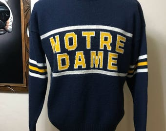 Vintage Cliff Engle Notre Dame Sweater - Notre Dame Fighting Irish Knit Sweater L
