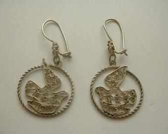 Vintage filigree metal bird earrings
