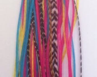 """5""""-7"""" Yellow, Pink, Aquamarine & Grizzly 5 Feathers"""