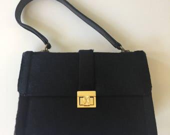 Vintage Black Cowhide Handbag Purse
