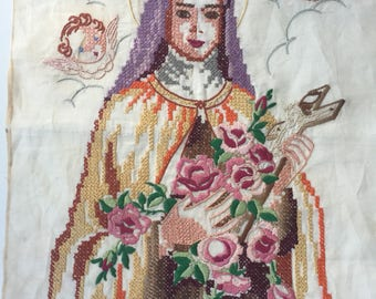Vintage St. Theresa Embroidery On Cloth Suitable For Framing
